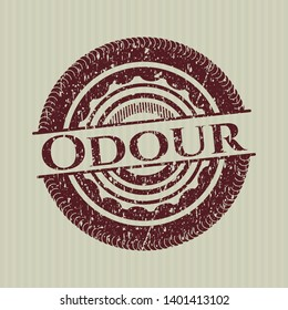 Red Odour rubber stamp with grunge texture