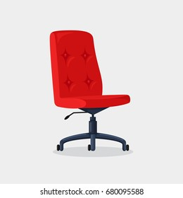Red office chair isolated on white background. Empty seat for employee. Ergonomic armchair for executive director. Furniture icon. Vector illustration. Flat style design
