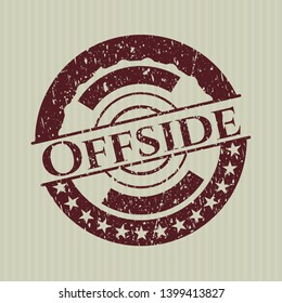 Red Offside distressed rubber stamp