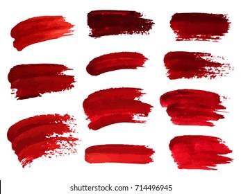 Red oil brush strokes similar to blood for design, element for halloween. Vector illustration.