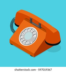 Red Old Phone Isometric View with Rotary Dial on a Blue Background. Symbol of Support and Service Vector illustration