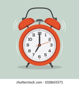 Red old ringing alarm clock illustration in flat style. Wake up symbol.