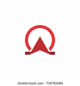Red omega symbol, for a building business with omega name initial.