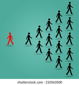 The red ones go in the opposite direction of many black people : Be different or unique concept design vector illustration art