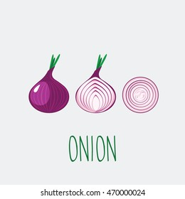 Red onion vector icon.