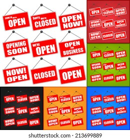 Red Open and Closed Signs, Red Open and Closed Business Signs Isolated on Color Background. Vector Illustration.