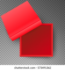 Red open empty squares cardboard box isolated on transparent background. Mockup template for design products, package, branding, advertising. Top view. Vector illustration.