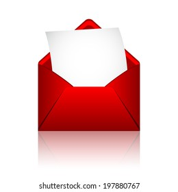 Red open envelope with paper