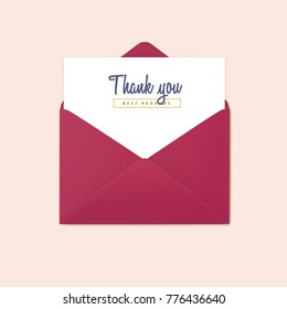 Red open envelope vector. Invitation, design template.