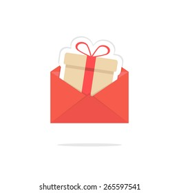 red open letter with gift box card. concept of shopping, giftbox, xmas, sticker, delivery, wedding, festive, event day. isolated on white background. flat style modern logo design vector illustration