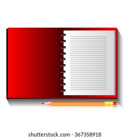 Red Open Notebook on Spiral with / and Pencil Isolated