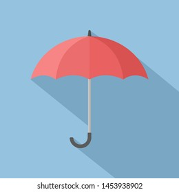 red open umbrella with long shadow on blue background. flat design