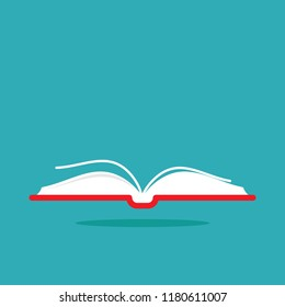 red opened book with shadow isolated on blue. Flat reading icon. Vector illustration. Education logo. Library pictogram. Knowledge, quote
