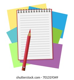 Red opened notepad with pencil and pen in top view. Sketchbook or diary. Vector illustration