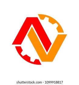 Red Orange AV Initials Lettermark Engineering Gear Flat Color Symbol Logo Design