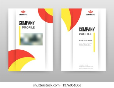 Red orange business annual report brochure flyer design. Multipurpose abstract brochure template, include cover and back pages. Geometric flyer leaflet vector design. Vertical A4 format.