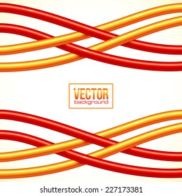Red and orange crossed cables vector background