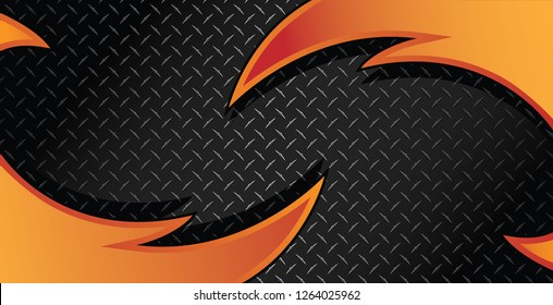 Red Orange Fire Razor Diamond Plate Textured Vector Background Illustration