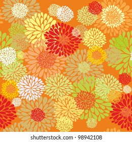 Red - orange floral seamless floral background