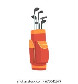Red and orange golf bag full of clubs, golfer sport equipment vector Illustration