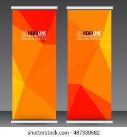Red orange roll up business brochure flyer banner design vertical template vector, cover presentation abstract geometric background, modern publication x-banner and flag-banner,carpet design.
