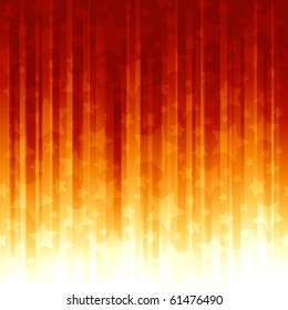 Red orange stripes with overlayed stars, abstract striped background Global color swatches, linear gradients, no transparencies.