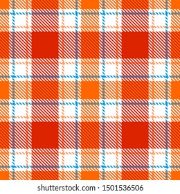 Red, Orange, White and Blue Tartan Plaid Scottish Seamless Pattern. Texture from tartan, plaid, tablecloths, shirts, clothes, dresses, bedding, blankets and other textile.