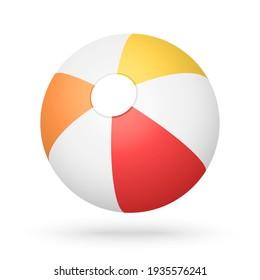 red, orange and yellow beach ball, vector