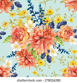 Red orange and yellow flowers with blue leaves and floral elements on the light green background. Watercolor seamless pattern with summer garden and wild flowers. Dahlias, roses and daisies.