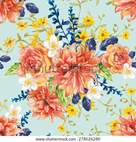 Red orange yellow flowers blue leaves stock vector royalty free red orange and yellow flowers with blue leaves and floral elements on the light green background mightylinksfo