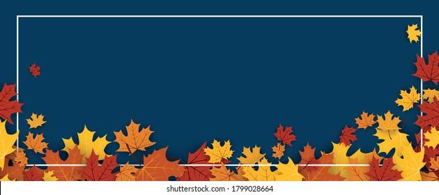 Roter, orangefarbener, gelber Ahorn hinterlässt den unteren Rahmen auf dunkelblauem Hintergrund. Vektorgrafik.