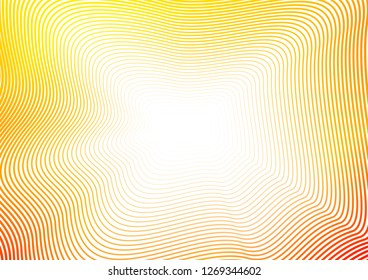 Red, orange, yellow waves, shiny squiggle lines. Abstract sunny background with copy space. Fractal pattern. Design concept of perspective and infinity. Vector colored waving frame. EPS10 illustration