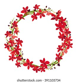 red orchid frame, floral wreath circle frame, isolated vector