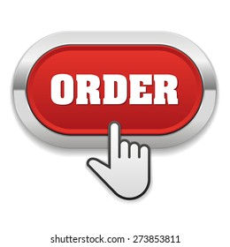 Red order button with metallic border on white background