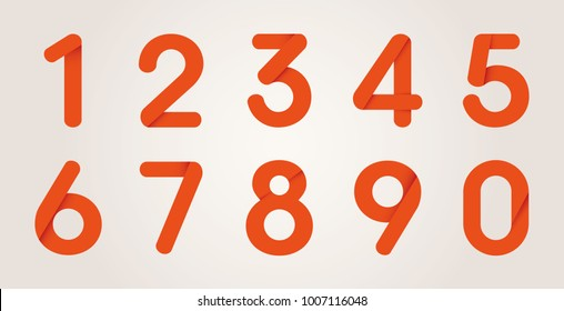 Red Origami Numbers From Zero to Nine, Vector Illustration Set - Shutterstock ID 1007116048