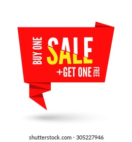 Red Origami paper speech bubble for sale. Vector ribbon banner design for advertising