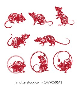 Red ornate rat set. Symbol of year, ornament, actions, ring. New Year concept. Isolated vector illustrations can be used for greeting cards, festive design, decoration