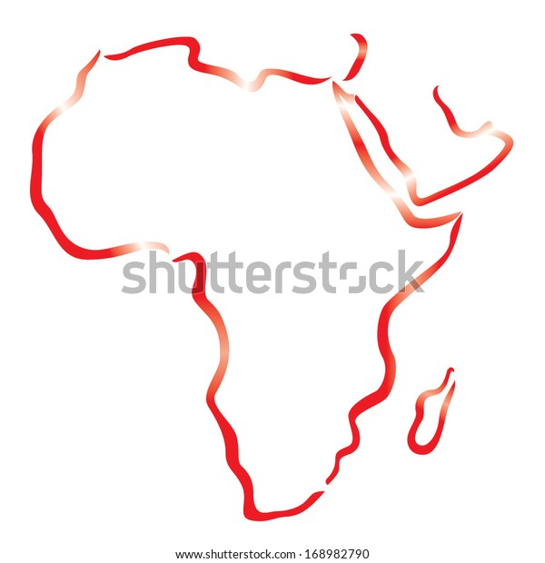 Red Outline Africa Arabian Peninsula Map Stock Vector (Royalty