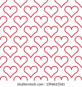 Red outlined hearts pattern. Lovely background for postcards, greeting cards, posters, wedding invitations. Modern, print for wallpaper, wrapping paper, textile. Simple flat design. Valentine texture.