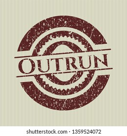 Red Outrun distressed rubber stamp with grunge texture