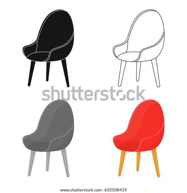 Red oval chair icon in cartoon style isolated on white background. Office furniture and interior symbol stock vector illustration.