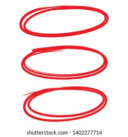 red oval, circle marker set for marking text