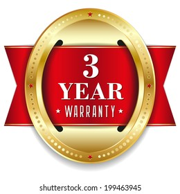 Red oval three year warranty badge with gold border and ribbon