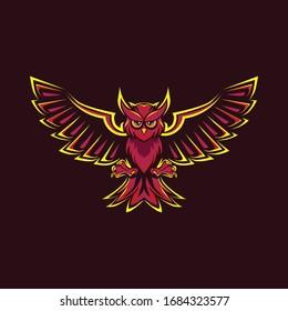 RED OWL ANIMAL MASCOT ILLUSTRATION