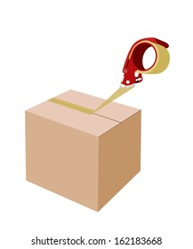 A Red Packing Tape Dispenser or Adhesive Tape Dispenser Closing A Brown Cardboard Box Isolated on White Background.