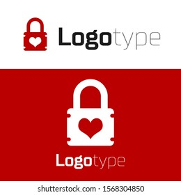 Red Padlock with heart icon isolated on white background. Locked Heart. Love symbol and keyhole sign. Logo design template element. Vector Illustration