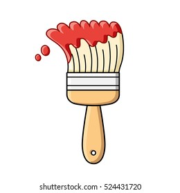 Red paint brush isolated.