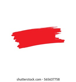 Red paint brush stroke isolated on a white