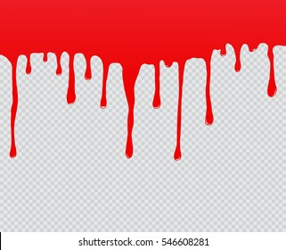 Red paint dripping.Dripping blood background.Vector illustration.