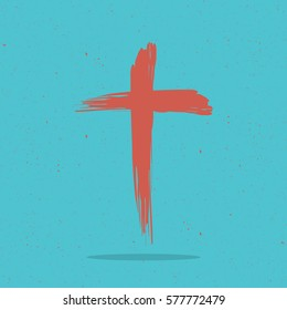 Red painted cross for logo, churche, mission